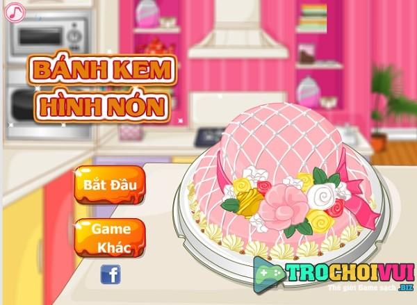 game Banh kem hinh non hong