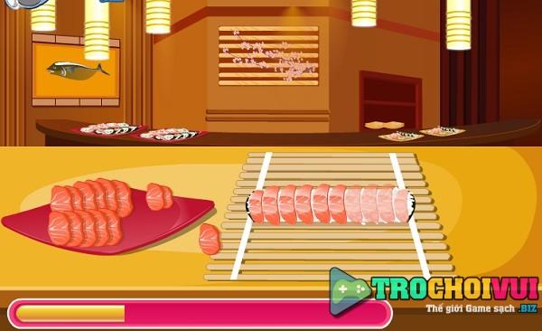 game Hoc lam sushi nhan thit