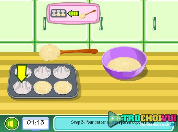 game Lam banh cupcake hao hang 24h