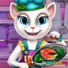 Mèo Angela nấu ăn
