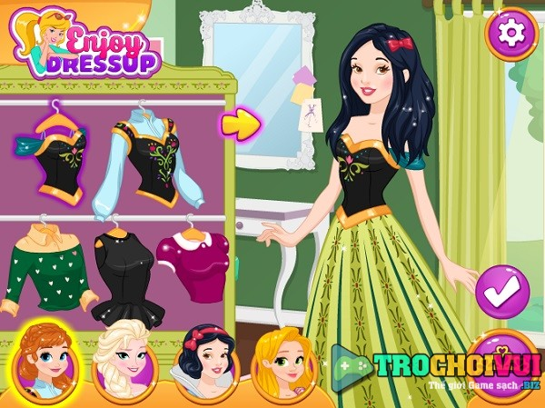 game Cong chua Elsa Anna Bach Tuyet Rapunzel hoan doi trang phuc