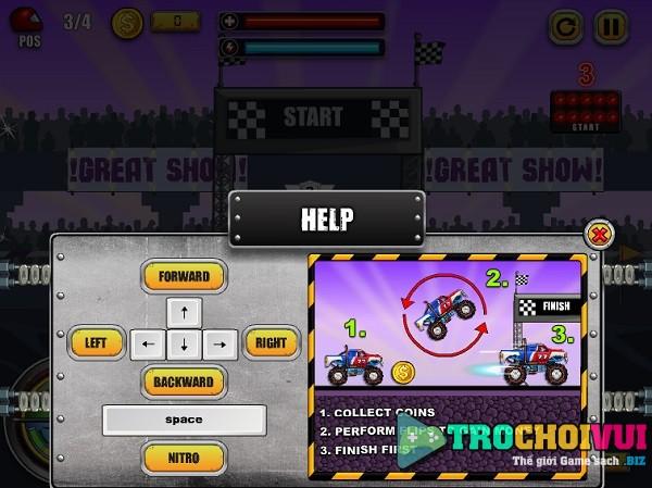 game Dua xe quai vat monster wheels online