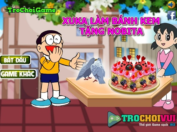 game Xuka lam banh kem tang nobita