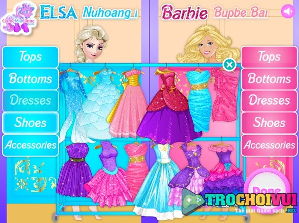 game Elsa va cong chua Barbie ai sanh dieu hon
