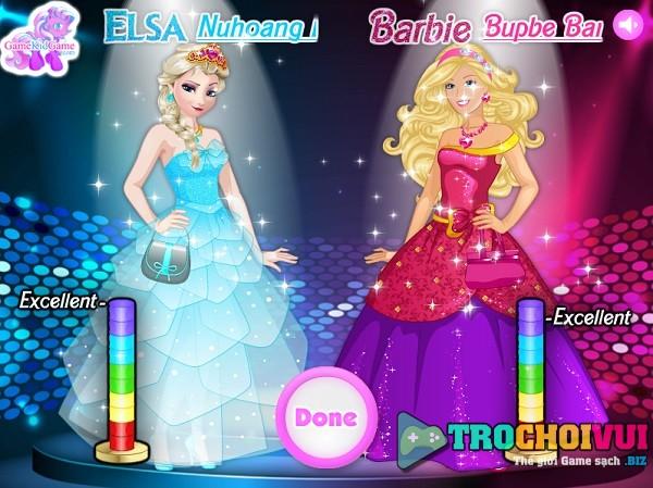 game Elsa vs cong chua Barbie ai mac sanh dieu hon