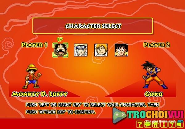 Choi game Goku vs Naruto vs Luffy vs Ichigo