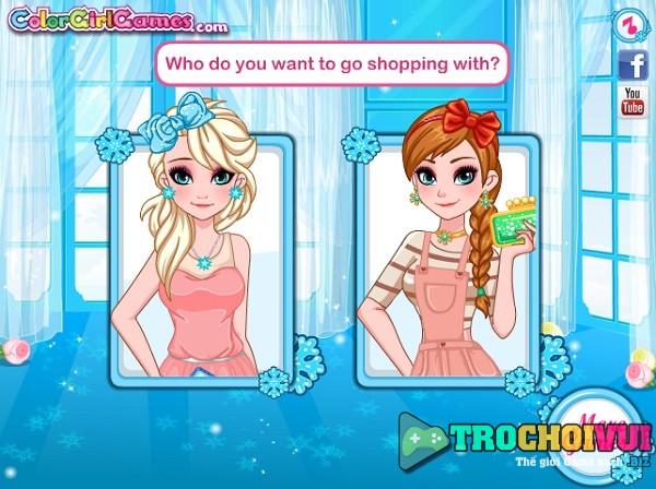 game Elsa va Anna di hoc mua sam