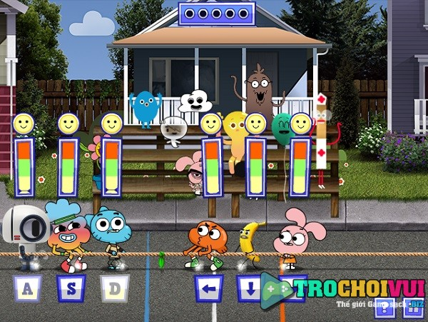 Game Olympic gumball thi chay nhay keo co nem lon