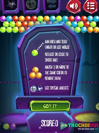 game Ban bong halloween bubble shooter