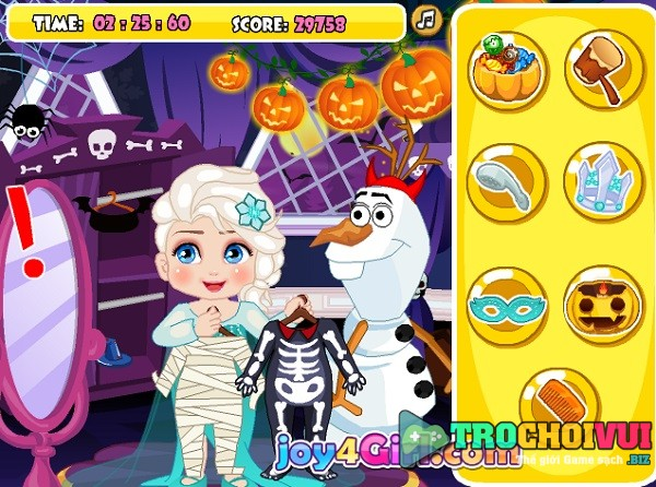 game Elsa giet thoi gian halloween 2017