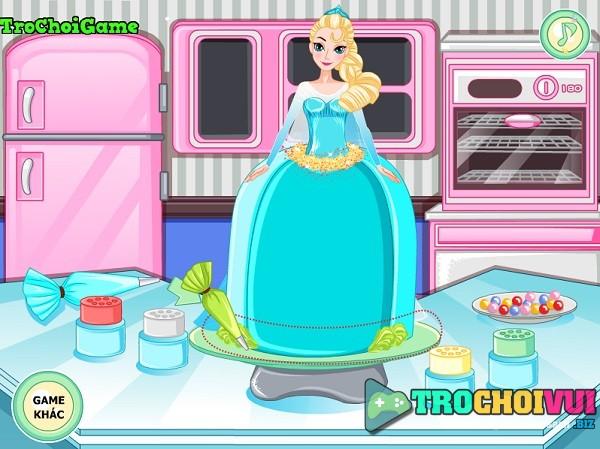 game Lam banh hinh nu hoang bang gia Elsa