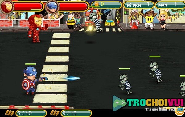 game Avengers vs Zombies 2 nguoi choi
