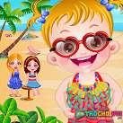 Em bé đi tắm biển 2