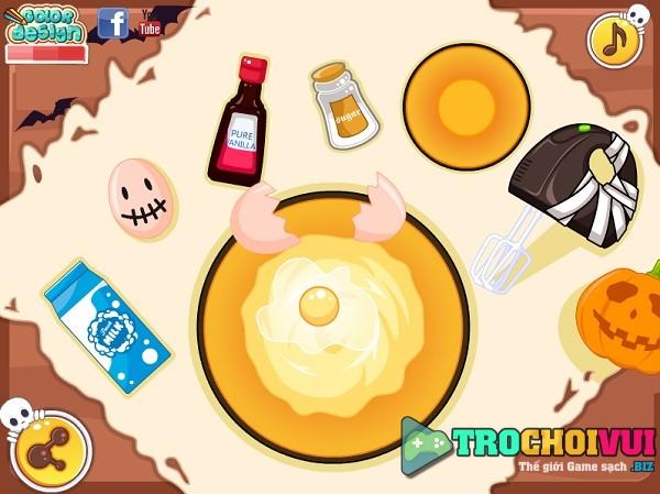 game Lam banh cupcake halloween hinh anh 1