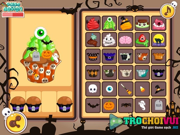 game Lam banh cupcake halloween hinh anh 3