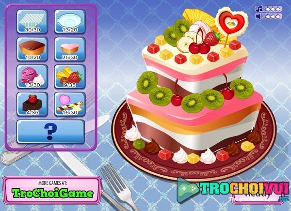 game Trang tri banh kem tinh yeu